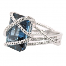 12.55 Carat London Blue Topaz Ring In 14k White Gold