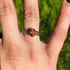 1.26 Carat Citrine And Diamond Ring In 14K White Gold