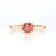 1.26 Carat Orange Sapphire And Diamond Ring In 14k Yellow Gold