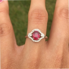 1.30 Carat Madagascar Ruby And Diamond Ring In 14k White Gold