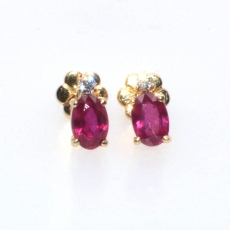 1.33 CARAT RUBY and diamond EARRING IN 14K YELLOW GOLD