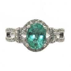 1.33 Carat Zambian Emerald And Diamond Engagement Ring In 14K White Gold