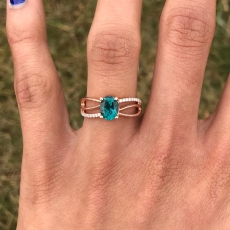 1.36 Carat Indicolite Color Apatite And Diamond Ring In 14k Rose Gold