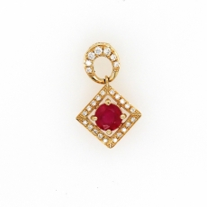 1.36 Carat Madagascar Ruby With Diamond Pendant In 14k Rose Gold