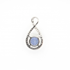 1.38 Carat Nigerian Sapphire With Diamond Pendant In 14k White Gold