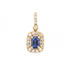 1.39 Carat Ceylon Sapphire With Diamond Pendant In 14k Yellow Gold