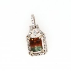 1.39 Carat Watermelon Color Tourmaline & Diamond Pendant In 14k White Gold