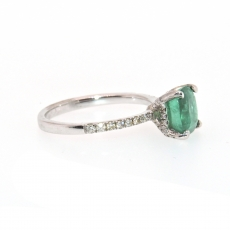 1.43 Carat  Emerald And Diamond Engagement Ring In 14k White Gold