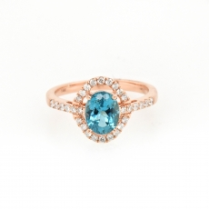 1.43 Carat Apatite And Diamond Ring In 14k Rose Gold