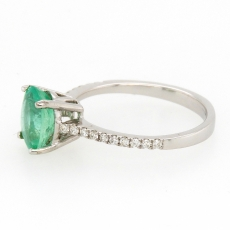 1.43 Carat Colombian Emerald And Diamond Ring In 14k White Gold