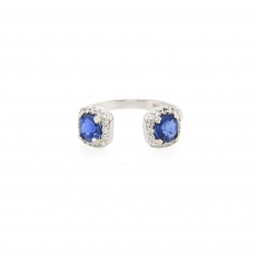 1.44 Carat Ceylon Sapphire And Diamond Ring 14k White Gold