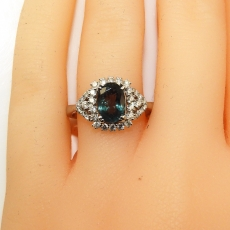 1.44 Carat Gia Certified Natural Color Change Alexandrite And Diamond Ring In 14k White Gold