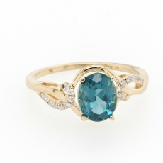 1.45 Carat Apatite And Diamond Ring In 14k Yellow Gold