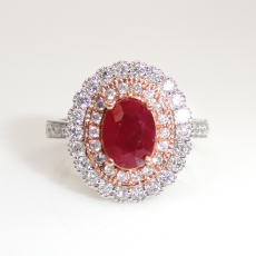 1.49 Carat Pigeon Blood Heated Ruby And Diamond Ring In 14k Dual Tone (yellow / White) Gold