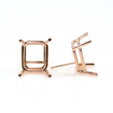 14k Rose Gold 11x9mm Emerald Cut Findings With Push Backs