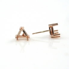 14k Rose Gold 5mm Trillion Findings With Push Backs