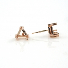 14k Rose Gold 6mm Trillion Findings With Push Backs