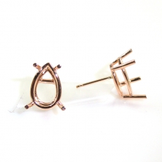 14k Rose Gold 6x4mm Pear Shape Findings With Push Back