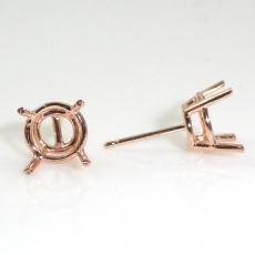 14k Rose Gold 7mm Round Findings With Push Backs