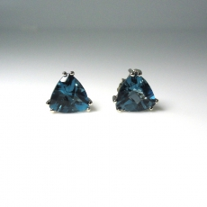 14K WHITE GOLD 5.80 TOTAL CARAT LONDON BLUE TOPAZ  EARRINGS