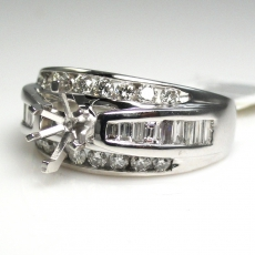14k White Gold And Diamond Halo Ring Semi Mount