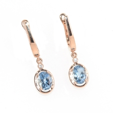 1.51 Carat Aquamarine And Diamond Earring In 14k Rose Gold