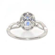 1.51 Carat Tanzanite With Diamond Halo Ring In 14K White Gold