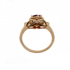1.52 Carat Red Spinel And Diamond Ring In 14k Yellow  Gold