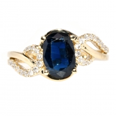 1.53 Carat Blue Sapphire And Diamond Ring In 14k Yellow Gold
