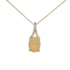 1.54 Carat Ethiopian Opal With Diamond Pendant In 14k Yellow Gold