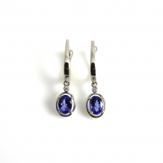 1.56 Carat Tanzanite And Diamond Earring In 14k White Gold