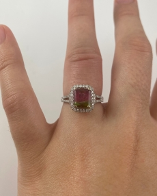 1.60 Carat Watermelon Tourmaline And Diamond Ring In 14k White Gold