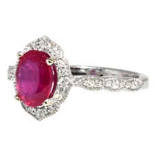 1.62 Carat Madagascar Ruby And Diamond Ring In 14k White Gold