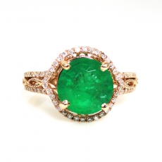 1.63 Carat Emerald And Diamond Engagement Ring In 14K Rose Gold