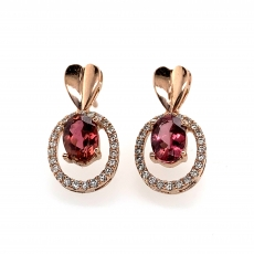 1.64carat Tourmaline And Diamond Earring In 14k Rosegold