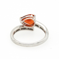 1.65 Carat Orange Sapphire And Diamond Ring In 14k White Gold