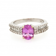 1.65 Carat Pink Sapphire And Diamond Ring In 14k White Gold