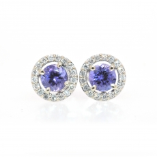 1.65 Carat Tanzanite And Diamond Stud Earring In 14k White Gold