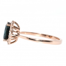 1.66 Carat Indicolite Tourmaline And Diamond Ring In 14k Rose Gold