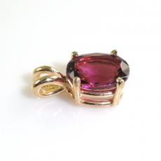 1.69 Carat Raspberry Garnet And Pendant In 14k Yellow Gold