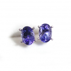 1.70 Carat Aa Quality Tanzanite Stud Earring In 14k White Gold