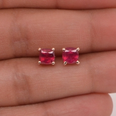 1.70 CARAT MADAGASCAR RUBY STUD EARRING IN 14K Rose GOLD