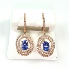 1.70 Carat Tanzanite And Diamond Earring In 14k Rose Gold