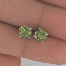 1.71 Carat Peridot Earrings In 14k Yellow Gold