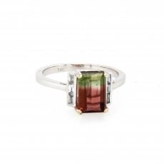 1.71 Carat Watermelon Color Tourmaline And Diamond Ring In 14k White Gold