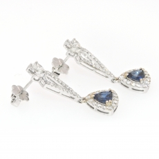 1.73 Carat Ceylon Sapphire And Diamond Halo Earring In 14k White Gold