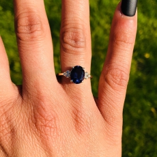 1.74 Carat Iolite And Diamond Ring In 14k Yellow Gold