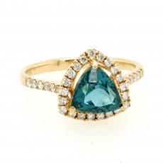 1.78 Carat Apatite And Diamond Ring In 14k Yellow Gold