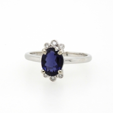 1.78 Carat Iolite And Diamond Ring In 14k White Gold