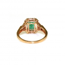 1.78 Carat Zambian Emerald And Diamond Engagement Ring In 14K Rose Gold (UNE)